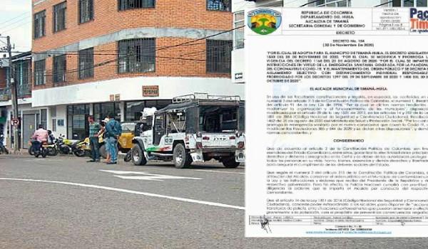 Alcalde de Timaná modificó decreto