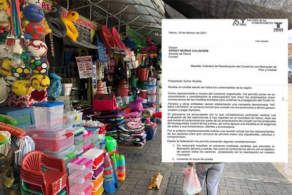 Empresarios de Neiva, piden que se levanten las medidas de toque de queda y Pico y Cédula