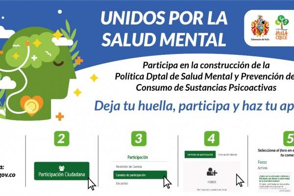 Opitas a participar en la Construcción de la Política Pública de Salud Mental